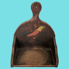 Antique 19th C. PA. Folk Art Hanging Candle Shelf w/Painted Bird Decoration