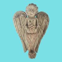 Vintage Hand Carved & Painted Folk Art Hanging Angel