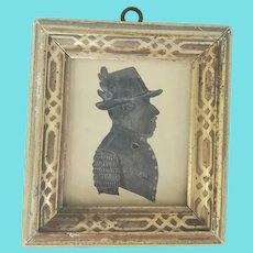 Antique Folk Art Watercolor Silhouette of German Gentleman