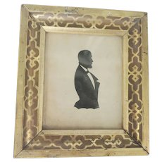 Antique Folk Art Cutout Silhouette of Bearded Gentleman