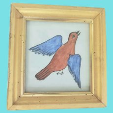 Diminutive 19th C. Folk Art Watercolor of Red & Blue Bird