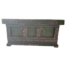 Antique Painted Folk Art Miniature Blanket Chest w/German Writing
