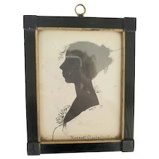 Antique 19th C. Hollow Cut Silhouette of Young Woman w/ Painted Details & Signatures