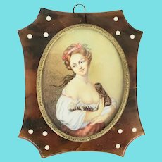 Antique 19th C. Painting of Young Woman w/Puppies in Tortoiseshell Frame