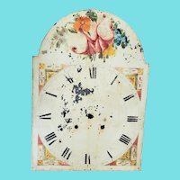 Antique 19th C. Folk Art Floral Design Clock Face