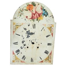 Antique 19th C. Folk Art Floral Design Clock Face