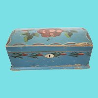 Antique Folk Art Floral Design Dome Top Miniature Blanket Chest