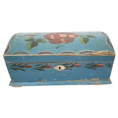 Antique Folk Art Floral Design Dome Top Miniature Blanket Chest