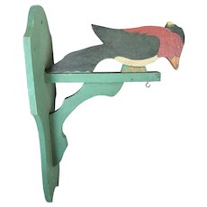 Vintage Folk Art Painted Woodpecker Bird Cage or Plant Hanger