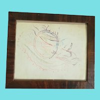 Antique Signed & Dated 1889 4-Color Harrison School Spencerian Calligraphy of Bird