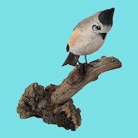 "Vintage ""JS Harden"" Carving of Western Titmouse Bird on Branch"