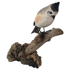 "Vintage ""JS Harden"" Carving of Multi-Color Crested Bird on Branch #1"