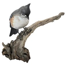 "Vintage ""JS Harden"" Carving of Multi-Color Crested Bird on Branch #2"