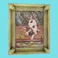 Darling Vintage Signed 1927 Folk Art Painting of Puppy & Frog