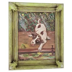 Darling Vintage Signed 1927 Folk Art Painting of Puppy & Frog