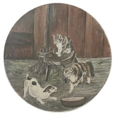 Diminutive Antique ca. 1880 Dog & Cats Painting on Papier Mache Plate