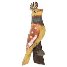 Graphic Vintage Folk Art Carved & Painted Crested Bird on Branch