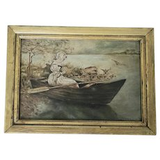 "Antique ""E.H. Beck."" Dated 1900 Idaho Folk Art Painting of Girl in Boat w/Flowers"