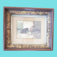 Charming Antique Folk Art Watercolor of Puppy & Baby Chick
