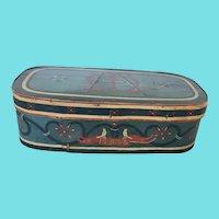 "Exceptional Vintage Signed ""AM"" Dtd. 1935 Folk Art Painted Bandbox w/ Bird Design"