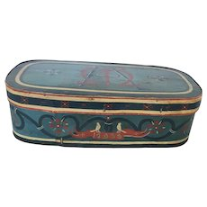 "Exceptional Vintage Signed ""AM"" Dtd. 1935 Folk Art Painted Bandbox w/ Bird Design"