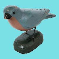 "Vintage Signed ""Louie Brudleff"" Folk Art Eastern Bluebird Carving"