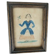 Diminutive 19th C. Watercolor Folk Portrait of Young Girl Holding Rosebud