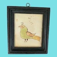 C. 1880 Naive PA. Folk Art Bird Watercolor with Provenance