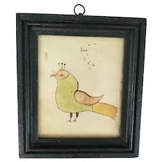 C. 1880 Naive PA. Folk Art Bird Watercolor with Provenance