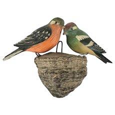 Pair Antique ca. 1900 Folk Art Fanciful Bird Carvings on Fungus