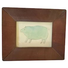 Diminutive Antique ca. 1840-1860 Lancaster PA. Folk Art Pig Watercolor