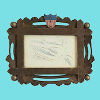 Antique 19th C. Folk Art 3-Color Eagle Calligraphy in Patriotic Handmade Frame