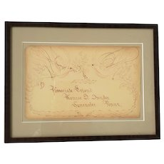 Antique Signed & Dtd.  Sept. 4, 1892 Two-Color Birds & Tree Calligraphy