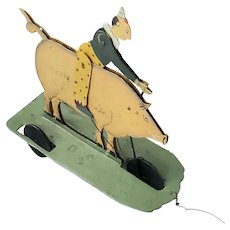 Folk Art Pig & Rider Metal Pull Toy