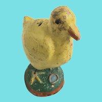 Vintage Primitive Folk Art Painted Pottery Baby Chick Bank