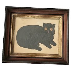 Antique ca. 1860's Sculpted Felt Portrait of Black Cat from Woodstock NY Collection