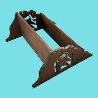 Vintage Folk Art Bird Design Walnut Fretwork Hanging Shelf