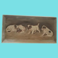 Antique Victorian Folk Art Painting of 4 Jack Russell Puppies on Beveled Wood Panel
