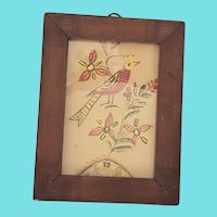 Diminutive Antique 19th C. Folk Art Fraktur Watercolor of Bird and Flowers