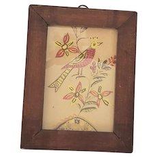 Diminutive Antique 19th C. Folk Art Fraktur Watercolor of Bird and Flowers