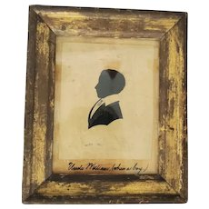 """Antique ca. 1840's Painted & Hollow Cut Silhouette of """"Uncle William (when a boy.)"""""""