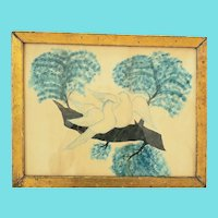 Antique Mid 19th C. Folk Art Watercolor of Doves in Tree from Rockefeller Collection