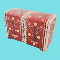 Vintage Folk Art Miniature Dome Top Trunk w/Flowers & Hearts Design from my Collection
