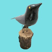 "Vintage Arkansas Folk Art ""A.D. Crisco"" Black Bird Carving"