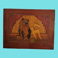 Sweet Vintage ca. 1920-40 PA. Folk Art Marquetry Picture of 2 Cats w/Yarn