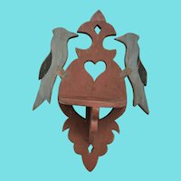 Antique Lancaster Co. PA. Folk Art Hanging Shelf w/Bluejays, Heart, & Make-Do Repairs