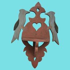 Antique Lancaster Co. PA. Folk Art Hanging Shelf w/Bluejays, Heart, & Make-Do Repairs
