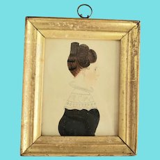 Rare Antique ca. 1830 Miniature Folk Art Portrait of Woman Attributed to Rufus Porter