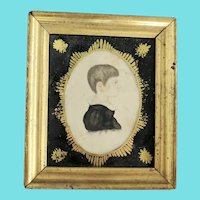 Rare Antique ca. 1830 Miniature Folk Portrait of Boy Attributed to Rufus Porter