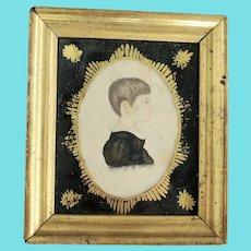 Rare Antique ca. 1830 Miniature Folk Portrait of Boy Attributed to Rufus Porter